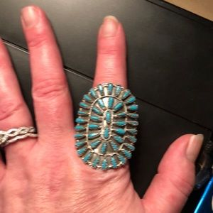 Jewelry - Begay Sterling Silver & Turquoise Cluster Ring Sz8